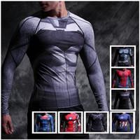 Wholesale Sport Wear Fitness Gym Clothing Copression Shirt Men Superman Captain America Batman Spiderman Winter soldier black panther flash T shirt