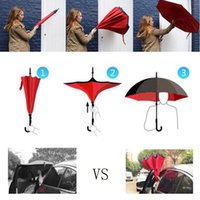 Wholesale 1PCS Windproof Reverse Folding Double Layer Guarda Chuva Inverted Umbrella Self Stand Inside Out Rain Protection For Long Car