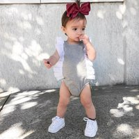al por mayor escalada mono-Ins Baby Girl Summer Mamelucos Infant Toddlers Soft Cotton Manga Fly Mono 0-3T Baby Climb Rompers