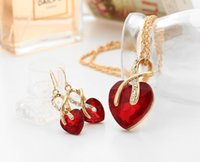 Wholesale New necklaces earrings jewelry Heart shaped earrings necklace set Austrian crystal zircon jewelry sets