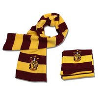 Wholesale 200Pcs Harry Potter Scarf Gryffindor School Unisex Knitted Striped Gryffindor Scarve Harry Potter Hufflepuff Scarf Cosplay Scarf