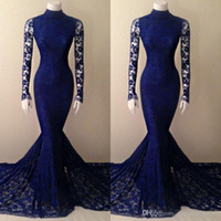Wholesale Real Royal Blue Lace Prom Dresses Mermaid High Neck Court Train Sheer Long Sleees Evening Gowns