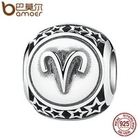 aries star - BAMOER Sterling Silver Twelve Constellations Aries Star Zodiac Sign Beads Charms Fit Bracelet Women Jewelry
