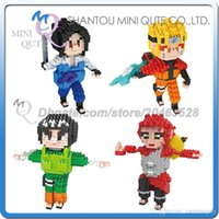 anime mini figures naruto - DHL Mini Qute Lele brother Anime Naruto Sasuke Gaara Rock Lee plastic building block brick model Action Figure educational toy