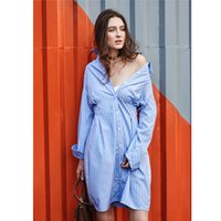 Casual Dresses Shirt Dresses Summer Blue Vertical Striped Women's Shirt Dress Long Sleeve 2017 Spring Summer A-Line Look Slim Defined Waist Knee-Length Sashes Lady Casual Dress