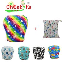 baby nappys - One Swim Diaper one bag set Baby Swimming Diaper New Patterns Waterproof Nappys Christmas Printing Diapers Kids Swimwear Adjustable