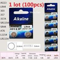 Wholesale 100pcs AG13 LR44 A SR1154 SR44 A76 L1154 LR1154 V alkaline button cell battery coin batteries