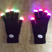 Wholesale- Fingertip LED Guantes Arco iris Flash Mujeres Luz Glow Stick Guantes Mitones BC67