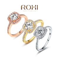Wholesale ROXI Exquisite Rings platinum rosegold K plated with zircon fashion Environmental Micro Inserted Jewelry