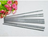 Wholesale Fancy Screw Thread Stainless steel chopsticks Chinese Chopsticks Kitchen Rrestaurant Chopsticks Home Kitchen Dinnerware DHL Shipping Free