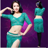 Wholesale 3PCS fashion sexy pierced belly dance training clothes suit lace sleeve T shirt Lace Skirt Women Costume competition clothing Gypsy traini