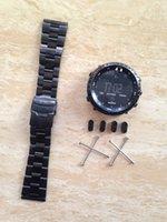 Ver negro núcleo suunto Baratos-Venta al por mayor-rara para el suunto todo el negro 24m m de la correa del reloj de la correa del acero inoxidable W / Lugs Kit + PVD hebilla + adaptadores + herramientas para Ross