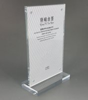 Wholesale Clear Acrylic A3A4A5A6 Sign Display Paper Card Label Advertising Holders Vertical T Stands By Magnet Sucked On Desktop