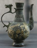 antique chinese pots - Antique Chinese Bronze Old Dragon Head Handle Exquisite Dragon Phoenix Cheng Xiang Graphics Flagon Wine Pot