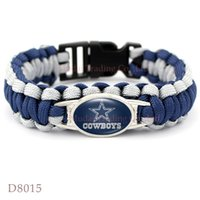 Wholesale Pieces Dallas Football Team Cowboys Paracord Survival Friendship Outdoor Camping Sports Bracelet Navy Blue Silver Cord
