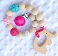 Wholesale Baby Wooden Teethers Pacifier Clip Dummy Holder Chain Teething Natural wooden beads Crochet covered beads Baby Gift Safe for teething