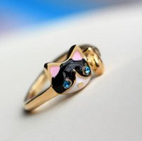 Wholesale The new drop of oil crystal diamond ring fashion bule eyes cat ring opening ring