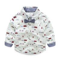 Precio de Coche de camisetas al por mayor-Ropa de los niños Ropa de los niños Niños camiseta de arco manga larga Cool coche de impresión de dibujos animados Hombre T-shirt algodón de marca al por mayor