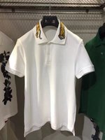 Wholesale Early spring POLO series collar tiger embroidery stitching POLO short sleeve men polo tshirts