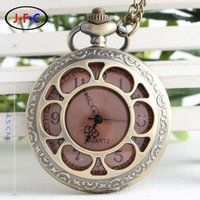 antique coffee tables - Vine large coffee sun flower pocket watch nostalgic characters face quartz flip male Ladies Gift Table concise