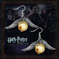 Wholesale 2017 New brand harry potter series women earrings golden snitch pendant pearl earring gold silver earrings fine pearl jewelry