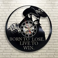 art records - Super Cool CD Vinyl Record Wall Clock Modern Design Born To Lose Live To Win Theme Art Watch Classic Clock Relogio Parede