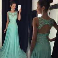 Wholesale Crystal Long A Line Prom Dresses Scoop Neck Cap Sleeveless With Backless Beads Elegant Chiffon Formal Party Gowns New Custom Made