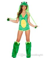 animal costume suits - 2017 Christmas Clothing Animal Role playing Suit Cute Green Frog loaded Bar Party Cos play Clothing With Foot Hats Halter Piece Pants