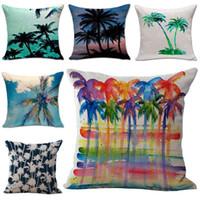 beach pillow covers - Tropocal Hawaii Beach Coconut Tree Pillow Case Throw Cushion cover linen cotton Pillowcase Cover Home sofa Decor Christmas gift