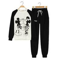 Wholesale Mickey Minnie Hoodies Women s Tracksuits Sports Suit Newest Cartoon Hoodies Jogging Sportswear Minnie mouse femme