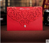 Wholesale Chic Wedding invitations laser cut cards Personalized Hollow Wedding Cards Invitations Wedding Supplies Free Customized Printing Hot
