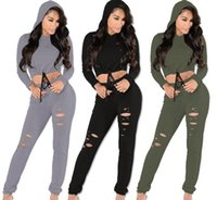 baseball hole - 2016 New Women Sexy Tracksuits Long Sleeve Hoodies with Cap and Long Pants Hole Tight Ladies Exercise Sport Suit SF11