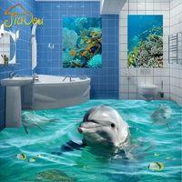 Wholesale Custom Photo Floor Wallpaper D Cute Dolphin Underwater World Living Room Bedroom Bathroom Self adhesive Floor Mural Wallpaper