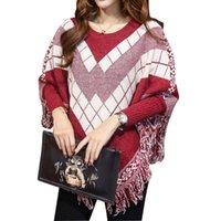 batwing jumper knitwear - Sweaters Women Ponchoes Plus Size Plaid Tassel Batwing Sleeve Jumper Pullover Woman Oversized Sweater and Knitwear Asymmetric Loose Tops