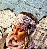 Wholesale New Women s Fashion Wool Buttons Crochet Headband Knit Hair band Flower Winter Ear Warmer headbands for women M06 B