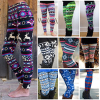 Wholesale Women Christmas Leggings Autumn Winter Xmas Santa Elk Print Thight Leggings Colors Can Choose