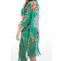 bathing suit coverup - Summer Floral Beach Cover Up Bikini Bathing Suit Cover Ups BeachWear Tassel Trim Swimsuit Coverup Dress Saida De Praia