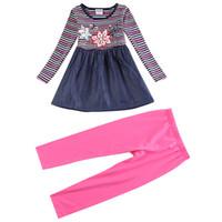 al por mayor tela púrpura de la raya-Novatx Primavera traje de los niños Color raya Tejido de mezclilla 100% algodón Impresión de flores Rosa rojo azul púrpura Pink tights