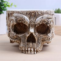 Wholesale arden Pots Planters Flower Pots Planters P Flame Hand Carved Flower Pot Human Skull Planter Garden Container Macetas Modern Home Decor Fo