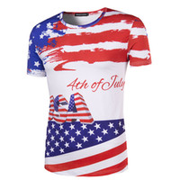 Men Crew Neck Short Sleeve 2017 New Hot Summer 3D Wholesale Mens Personality Stamp American Flag Stripe Stars Round Neck Short Sleeve T-shirt's Independence Day
