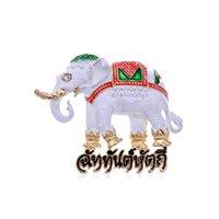 Белых слонов Цены-100pcs / lot женщин белый красный зеленый цвет краски эмаль тайский текст реалистичный слон Pin Брошь Таиланд броши