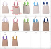 Wholesale NEW design Cotton Linen Canvas Easter Egg Bag Rabbit Bunny Ear Shopping Tote bags kids children Jute Cloth gift Bags handbag