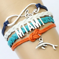 aqua chain - Pieces Infinity Love Miami Football Bracelet Dolphins Football Team Bracelet Aqua Orange White Blue Custom Sports Team