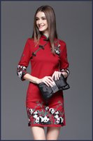 Wholesale 2016 Autumn the New Chinese Style Ladies Panda Embroidery Slim package hip Modified Chinese cheongsam Chinese Style Embroidery Dress Seven p