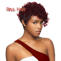 Wholesale BINA short curly wigs synthetic burgundy black woman short wig fashion ladies curly wig pieces