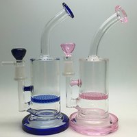 Wholesale Honeycomb Dab Oil Rig Glass Bong Best mini water pipes pink blue Green small bongs heady rigs pipe Honey comb perc filt pipe mm hookahs