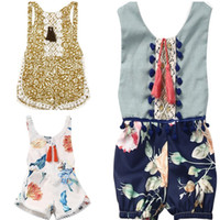 baby clothes decorations - Summer baby piece pants girl clothing shorts flower printing playsuits Bohemia beach Kids clothes Rompers Jumpsuits Lace decoration
