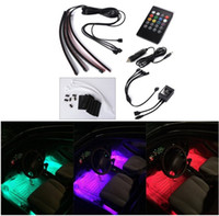 active strips - Car Interior Light LED Decoration Atmosphere Neon Light Strip Under Dash Light Kit with Sound Active Function Wireless IR Remote Control