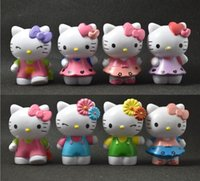 Wholesale 2016 Hot KT Anime Cartoon Hello Kitty Toy Figures Hellokitty Action Models for kids Birthday Gifts Anime club New