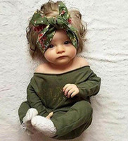 Wholesale 2016 Autumn New Baby Girl Romper Army Green Letters Print Long Sleeve Overalls Baby Clothing Not Have Headband T